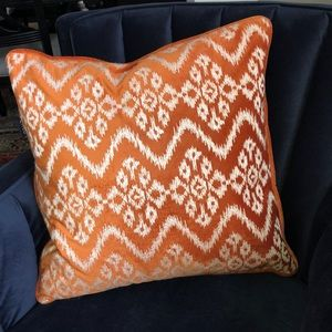 Orange pillow -zip off cover down filled